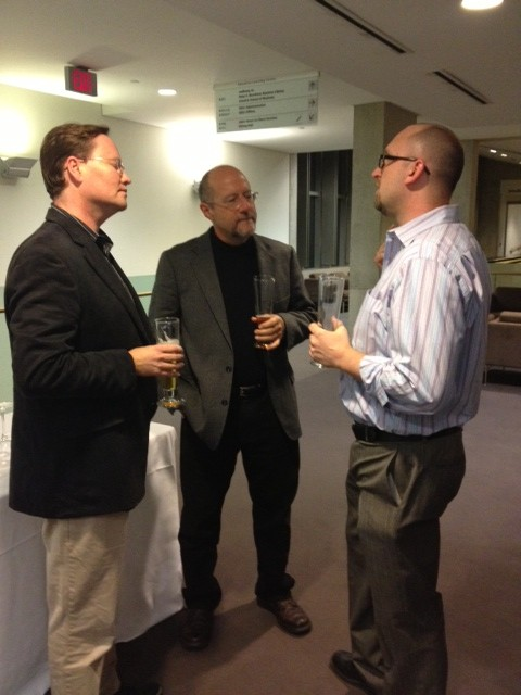 Mark Goodacre, Stephen Patterson, and Brent Landau chat at the reception.